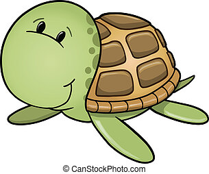 Happy Sea Turtle Vector - Cute Happy Sea Turtle Vector...