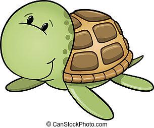 Happy Sea Turtle Vector