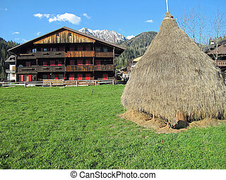 Haystack of dry grass and a typical House of the Italian Dolomit