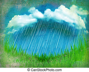 Raining clouds.Vintage landscape with green grass
