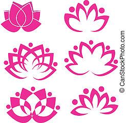 Conjunto, loto, flores, logotipo, vector