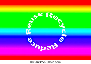 The Colorful ecological phrases - reduce-reuse-recycle