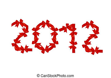 The Red ribbon of 2012 isolated on white background