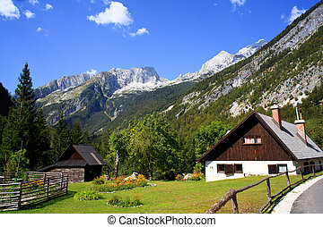 Old wooden house in Slovenian Julian Alps