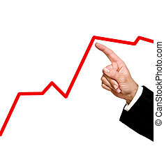 Finger pointing to a red chart