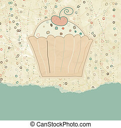 Vintage birthday card with cupcake. EPS 8