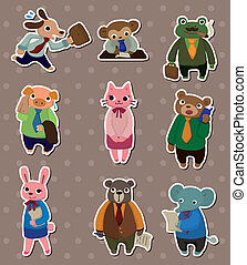animal office worker stickers