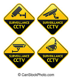 Security camera pictogram, video surveillance - Set Warning...