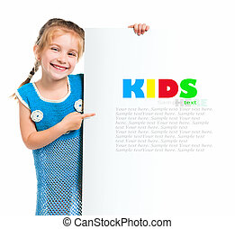 child behind a board - cute child behind a white board