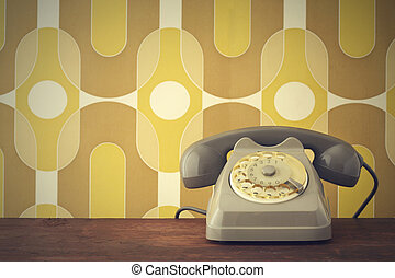 old phone - Old-fashioned phone on vintage background