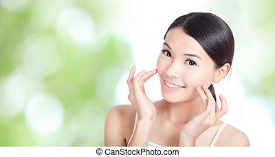 Young woman smile and hand touch face concept for health...