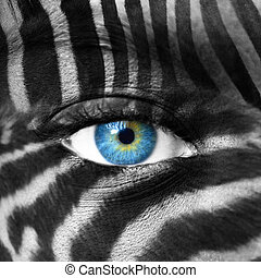 Human face with Zebra pattern - Save endangered species...