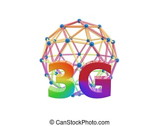 3g network cage ball isolated on white background