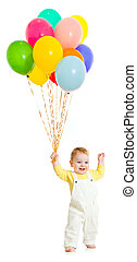 Kid or child with balloons bunch