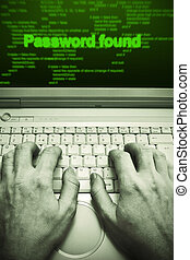 Password theft - Hacker cracking a computer...