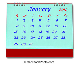 The Calendar of january 2012 isolated on white background