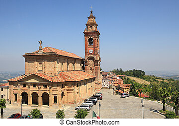 View on church in Diano D'Alba, Italy.
