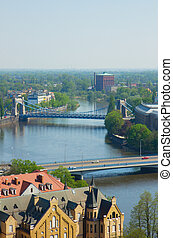 bridges of Wroclaw, Poland - bridges across the Oder river,...