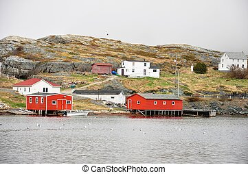 red stages in Salvage, Newfoundland