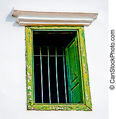 The Old window on wall