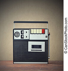 Cassette recorder - old monophonic cassette recorder from...