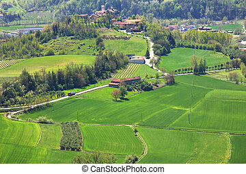 Green Fields. Piedmont, Northern Italy. - Aerial view on...