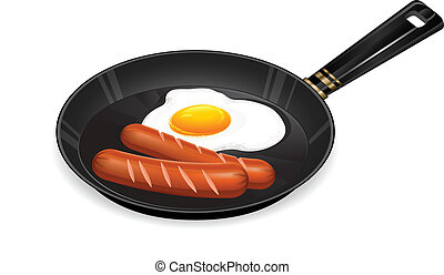 Fried eggs and sausage on pan, food ingredients, vector...