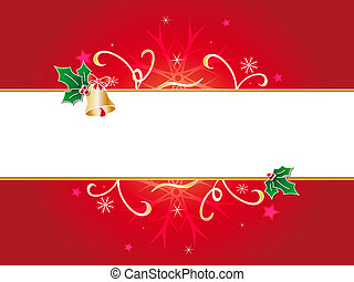 Christmas background - An illustrated floral design on red...