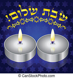 candles - Shabbat Shalom Hebrew vector background with...