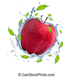 Fruit in water splash - Red apple in water splash, isolated...