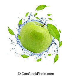 Fruit in water splash - Green apple in water splash,...