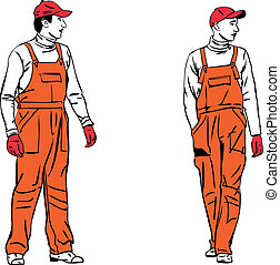 sketch two workers in orange combinations - a sketch two...
