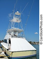 Sport fishing boat docked at a marina St. Augustine,...
