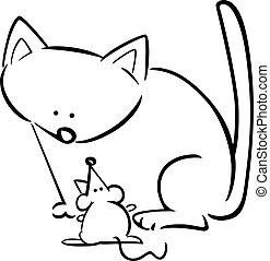 caricatura, garabato, gato, ratón, colorido