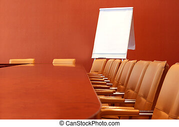 Conference room - Long table for meetings with the chairs...