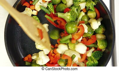 Stir Fry Vegetables, Closeup, Shooting From Above