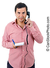 calling - young man with a phone, isolated on white