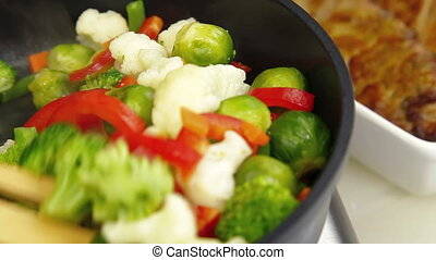 Stirred Vegetables In A Pan, Closeup