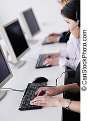 business people group working in customer and helpdesk...