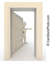 Welcome door - 3d human character opening door on white...