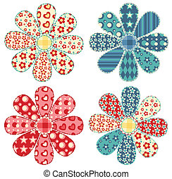 Set of four quilt flower Patchwork series Vector...