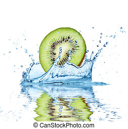 Fruit falling into water - Slice of kiwi falling into water,...