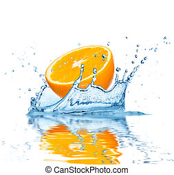 Fruit falling into water - Slice of orange falling into...