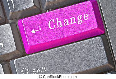 Keyboard with key for change