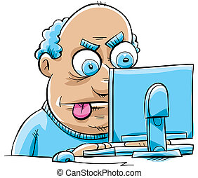 Frustrated Blogger - A frustrated cartoon man updates his...