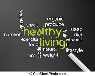 Healthy Living - Dark chalkboard with a Healthy Living...
