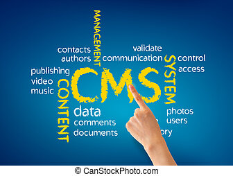 Content Management System - Hand pointing at a Content...
