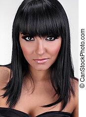 Portrait of beautiful sexy female brunette model