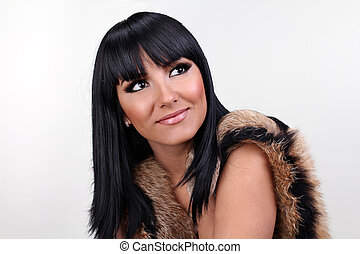 Smiling woman with fashion make up
