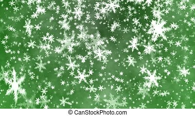 Snowflakes on a green background